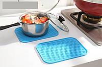 Силиконовый коврик для сушки посуды 21Х15 см (голубой), фото 1