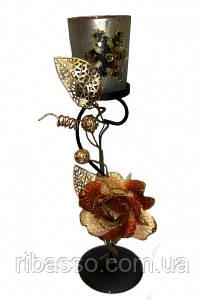 9060106 Подсвечник на 1 свечу с кремовой тряпичной розой