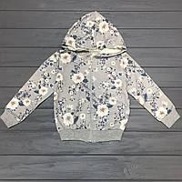 Кофта теплая (начес) с капюшоном на молнии для девочек оптом р.3-10лет
