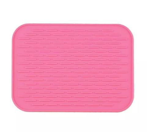 Силиконовый коврик для сушки посуды 21Х15 см (розовый)
