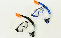Набор для плавания маска с трубкой M153-SN124-SIL (термостекло, силикон, пластик, черный, синий)