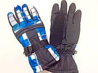 Перчатки горнолыжные мужские р.L (черные/синяя клетка)