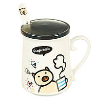 """Детская чашка с ложкой и крышкой """"Ideas piggy"""" (420 мл.), фото 1"""