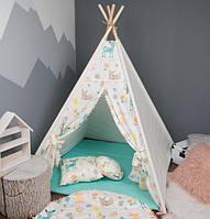 Детская палатка с помпонами + коврик + 2 подушки, вигвам для детей, шалаш для деток, палатка для девочки