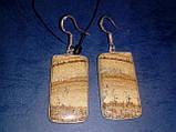 Пейзажная яшма серьги с натуральной яшмой в серебре Индия, фото 4