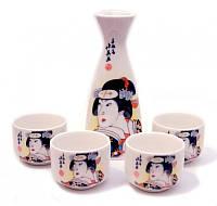 9200013 Набор для саке, Гейши в черном кимоно.