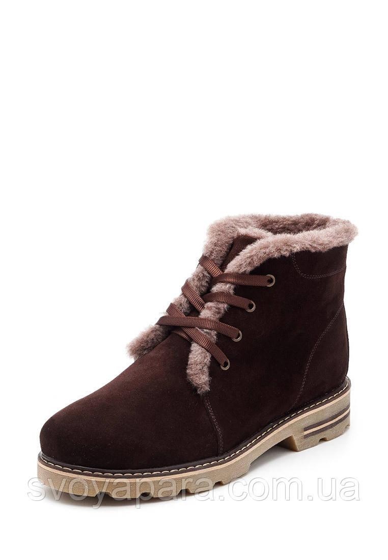 Женские зимние ботинки коричневые замшевые с 36-45 р.р. (100179)