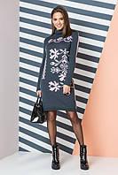 Теплое вязаное платье с орнаментом «Ульяна». Женское платье