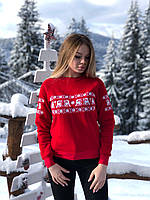 Красный женский свитшот вышитый белыми нитками