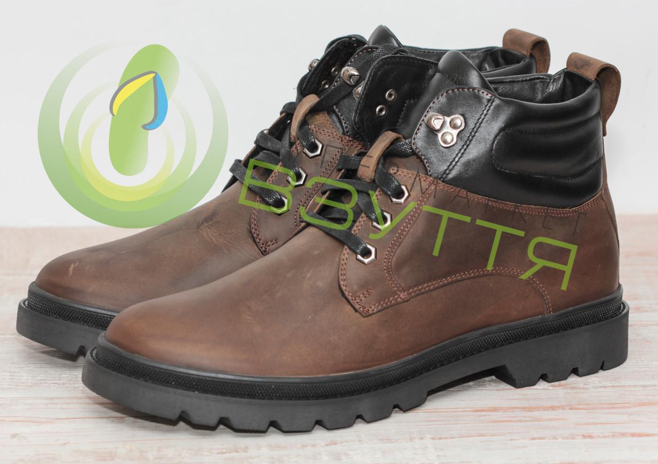 Кожаные  ботинки арт 14097 олива размеры 40,43