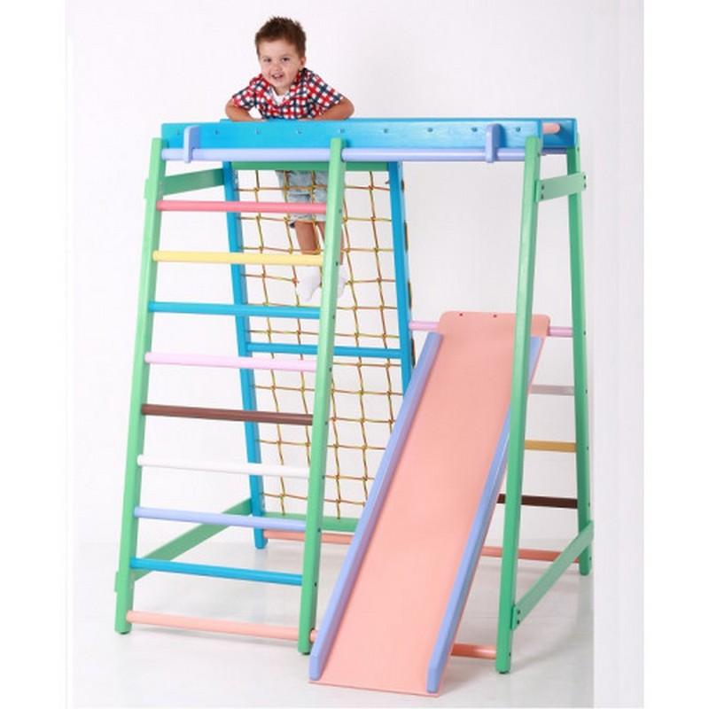 Детский спортивно игровой комплекс Малыш плюс (с деревянной горкой) для дома