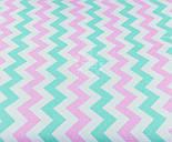 Отрез ткани №1180 с мятным и розовым зигзагом, размер 85*160, фото 2