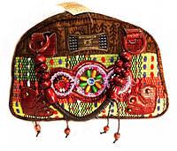 9040102 Сумка дамская кожа + текстиль + бусины №4