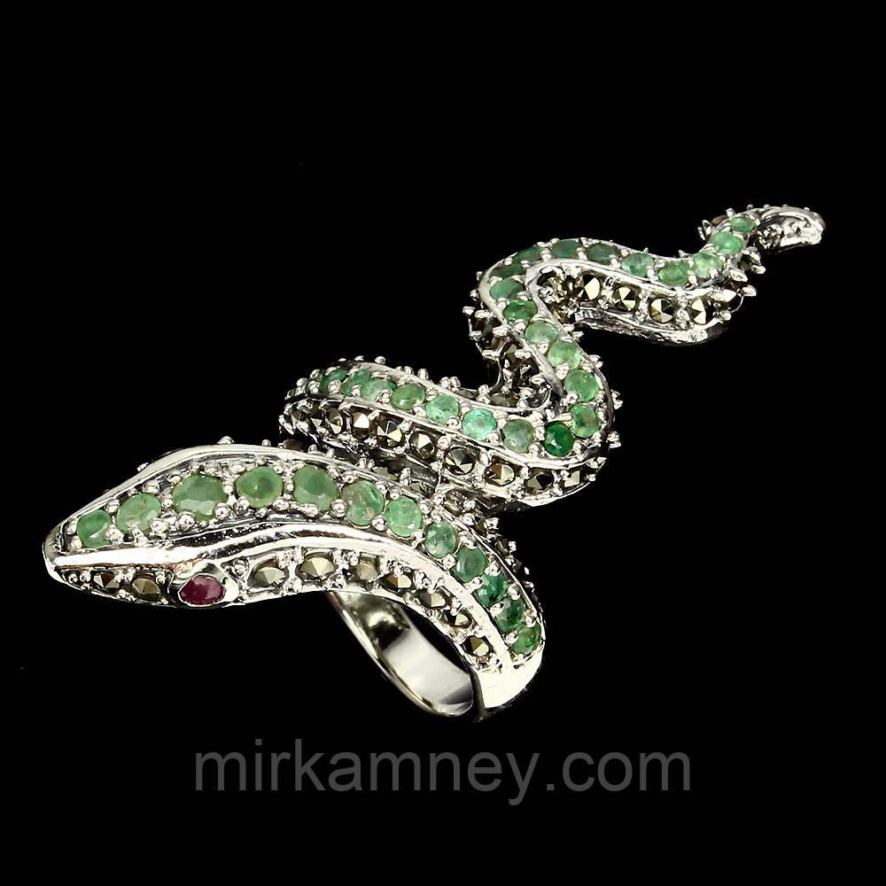 Кольцо Змея (кобра) натуральный природный камень Изумруд и Рубин. Серебро 925. Размер 18