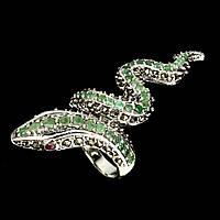Кольцо Змея (кобра) натуральный природный камень Изумруд и Рубин. Серебро 925. Размер 18, фото 1