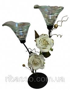 9060105 Подсвечник на 1 свечу с 2 - мя белыми тряпичными розами