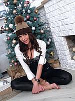 Женская шапка вязаная с натуральным мехом