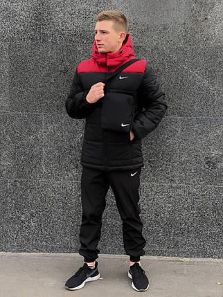 """Мужской зимний комплект черно-красный Jacket Winter """"Euro"""" + штаны. Барсетка в подарок! , фото 2"""