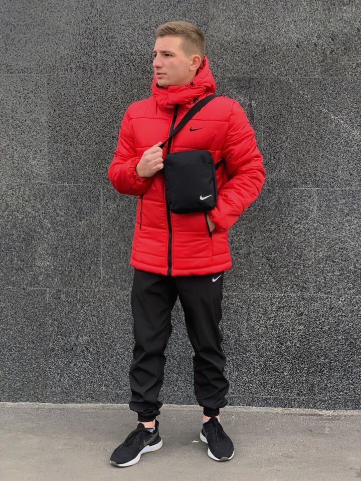 """Мужской зимний комплект красный Jacket Winter """"Euro"""" + штаны. Барсетка в подарок!"""
