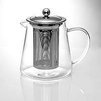 Чайник заварочный стеклянный 650 мл с металлическим ситечком.