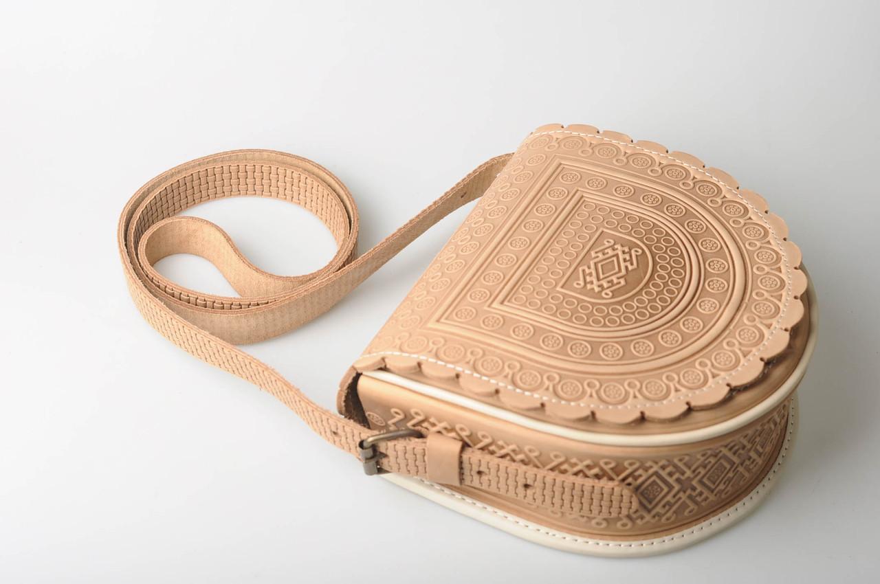 8210fae1f658 Кожаная женская сумка, бежевая сумка, сумка через плечо: купить ...