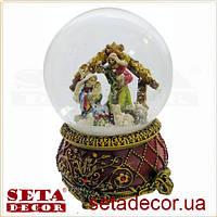 Большой шар со снегом Домик в лесу новогодний