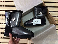 Женские зимние угги UGG AUSTRALIA - bailey button bling, black glitter, фото 1