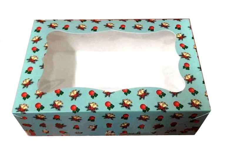 Коробка для пирожного 250*170*80 мм. (окошко) с принтом новогодняя