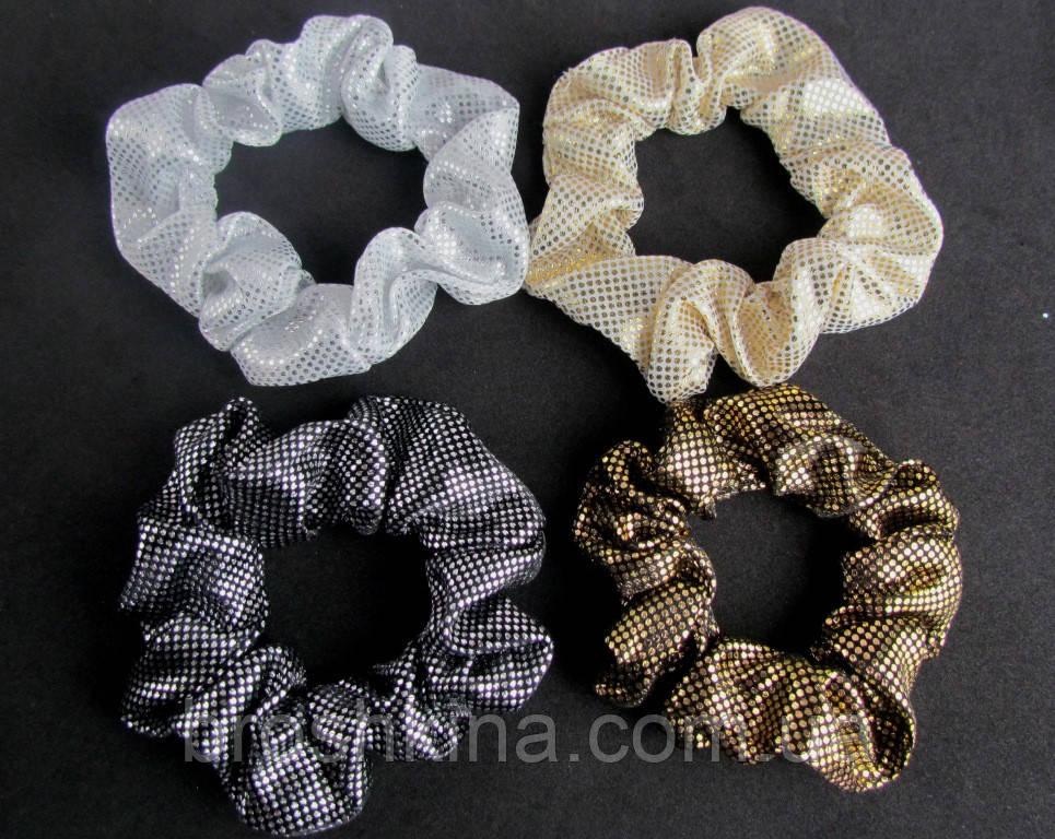 Резинки для волос текстиль с напылением d 8 см 12 шт/уп
