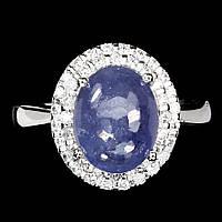 Кольцо натуральный Танзанит. Размер 16,5. Серебро 925, покрытие белое золото 14 карат, фото 1