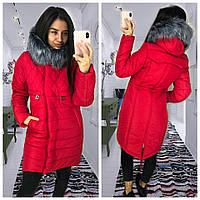 a8c1144a7fe Модный женский пуховик-парка красного цвета с искусственным мехом  42-52(много цветов