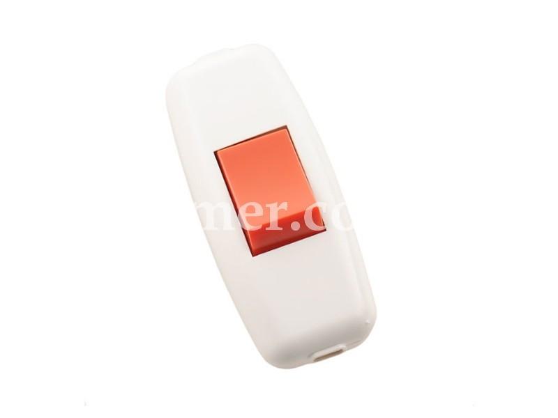 Выключатель навесной белый (красн.клав.) LEZARD