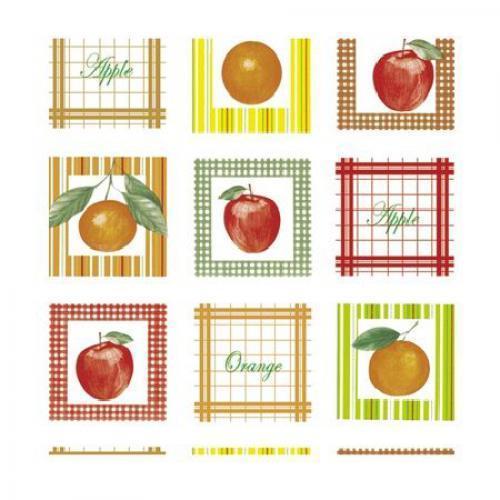 Клеенка ПВХ в рулоне на нетканой основе 1.37*25м Райские яблочки