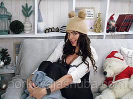 """Вязаная женская шапка с норковыми бубонами модель """"чертовка"""""""