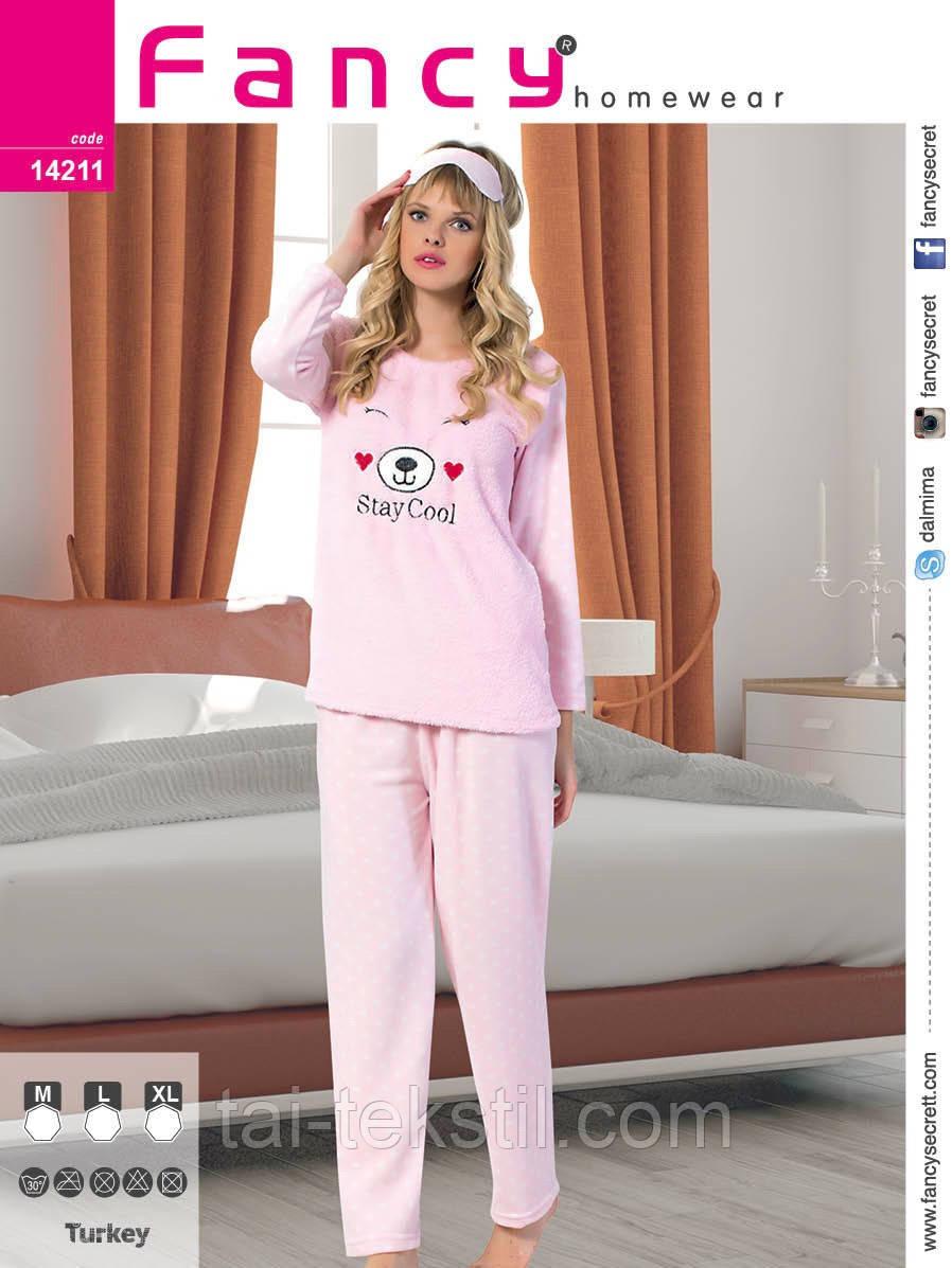 Пижама женская махра+флис и повязка для сна Турция FANCY 14211