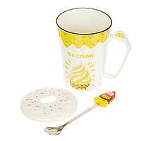 "Чашка керамічна з ложкою ""Ice cream cone"" (350 мл), фото 1"