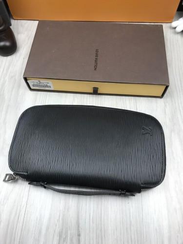5e7dbbf8dce6 Ккожаный клатч Louis Vuitton LV черный с ручкой для руки кошелек женский  мужской портмоне кожа люкс ...