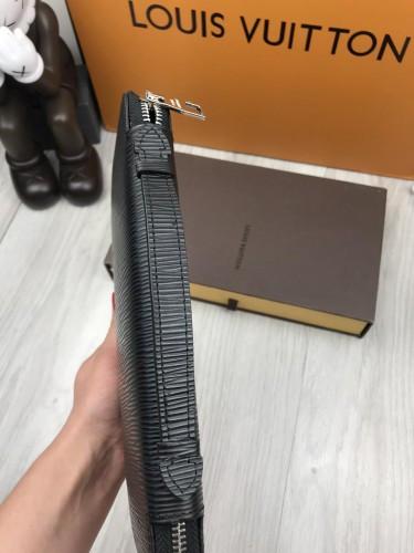 afd9a1d9a489 ... Ккожаный клатч Louis Vuitton LV черный с ручкой для руки кошелек женский  мужской портмоне кожа люкс ...