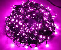 Гирлянда новогодняя розовая светодиодная на 100 LED ламп, длина 8 м для помещений (ограничено для улицы)