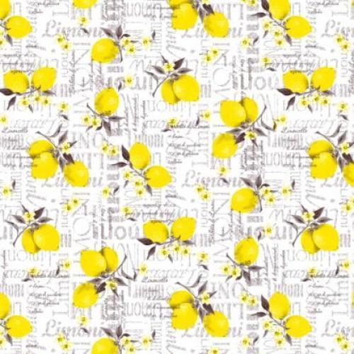 Клеенка ПВХ в рулоне на нетканой основе 1.37*25м Лимоны
