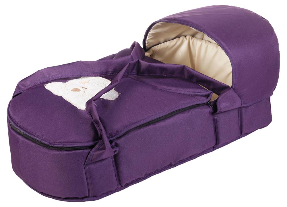 Люлька-переноска Babyroom BLA-056 с твердым дном аппликация  фиолетовый (мордочка мишки штопаная)
