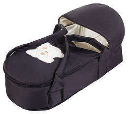 Люлька-переноска Babyroom BLA-056 з твердим дном аплікація чорний (мордочка ведмедики штопаная)
