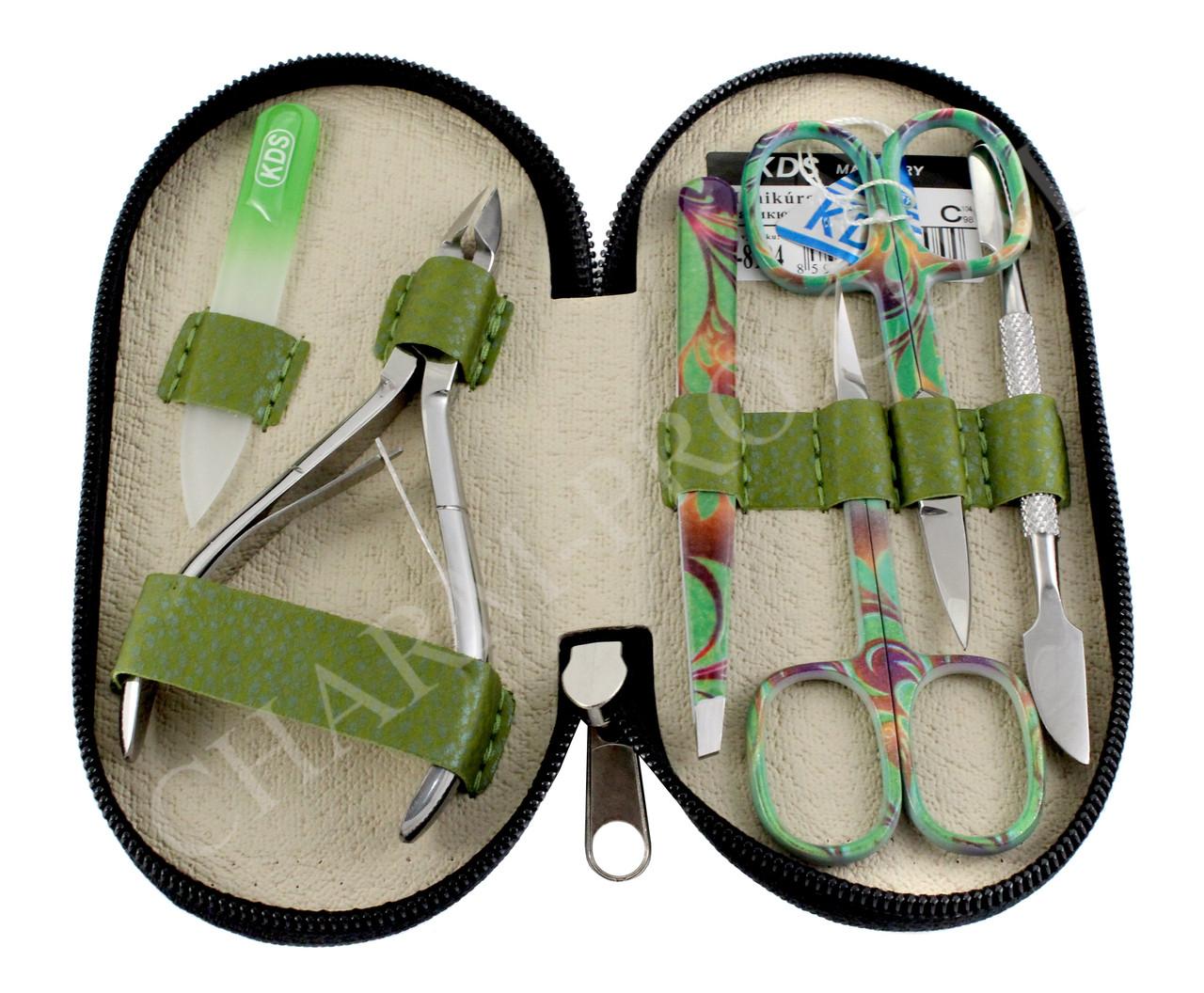 Маникюрный набор инструментов KDS 04-8104 (Темно-зеленый)