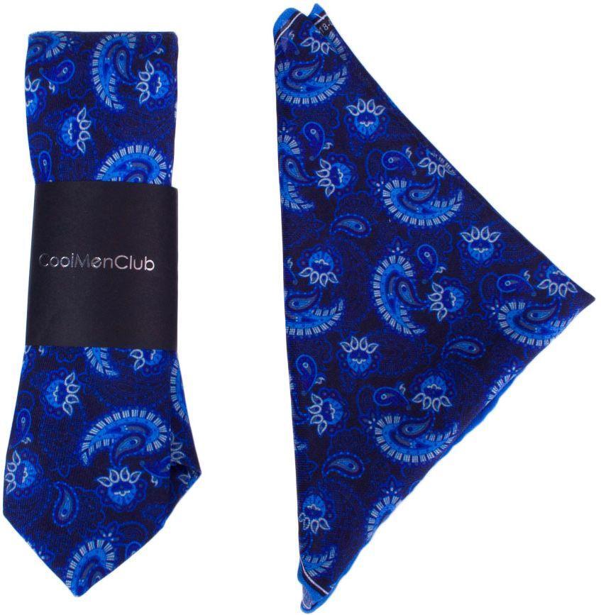 Подарочный комплект CoolMenClub SK5003 мужской, шелковый, синий