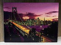 Светящаяся картина ночной город с светящимися фонарями на мосту, 30х40 см (940201)