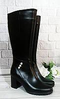 Кожаные сапоги на каблуке от производителя в Украине, фото 1