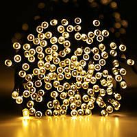 Гирлянда новогодняя белая теплая светодиодная на 200 LED ламп, длина 12 м для помещений и улицы