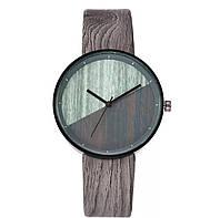 Оригинальные женские наручные часы с имитацией под дерево «Wood watch» в сером корпусе