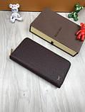 Брендовий чоловічий гаманець на блискавці Louis Vuitton коричневий Преміум Якість клатч Стильний Луї Віттон копія, фото 3