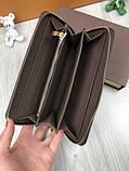 Брендовий чоловічий гаманець на блискавці Louis Vuitton коричневий Преміум Якість клатч Стильний Луї Віттон копія, фото 6